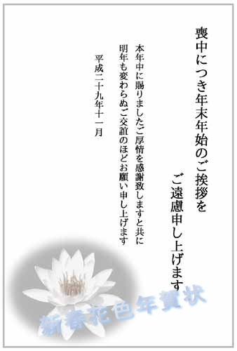 喪中テンプレート 新春花色年賀状 shot2